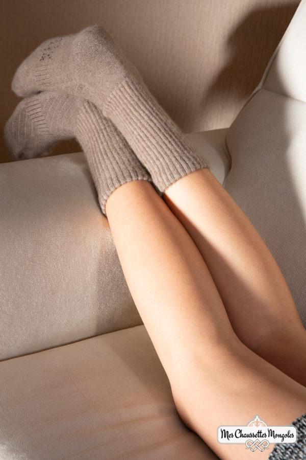 Chaussette 100% cachemire, chaleur et douceur.