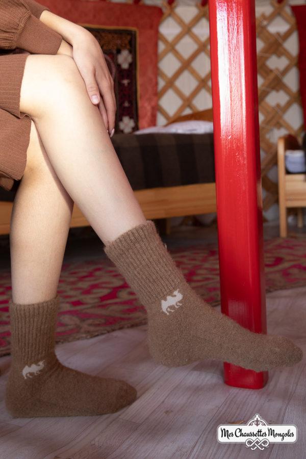 Chaussette chaude pour femme en poil de chameau