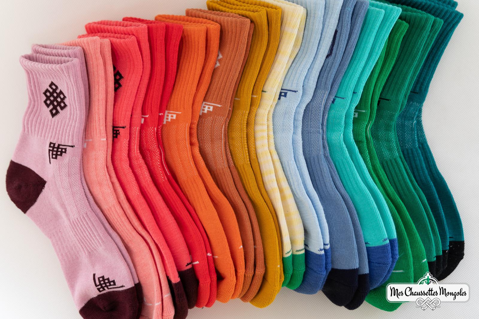 Gamme de couleurs des chaussettes en coton