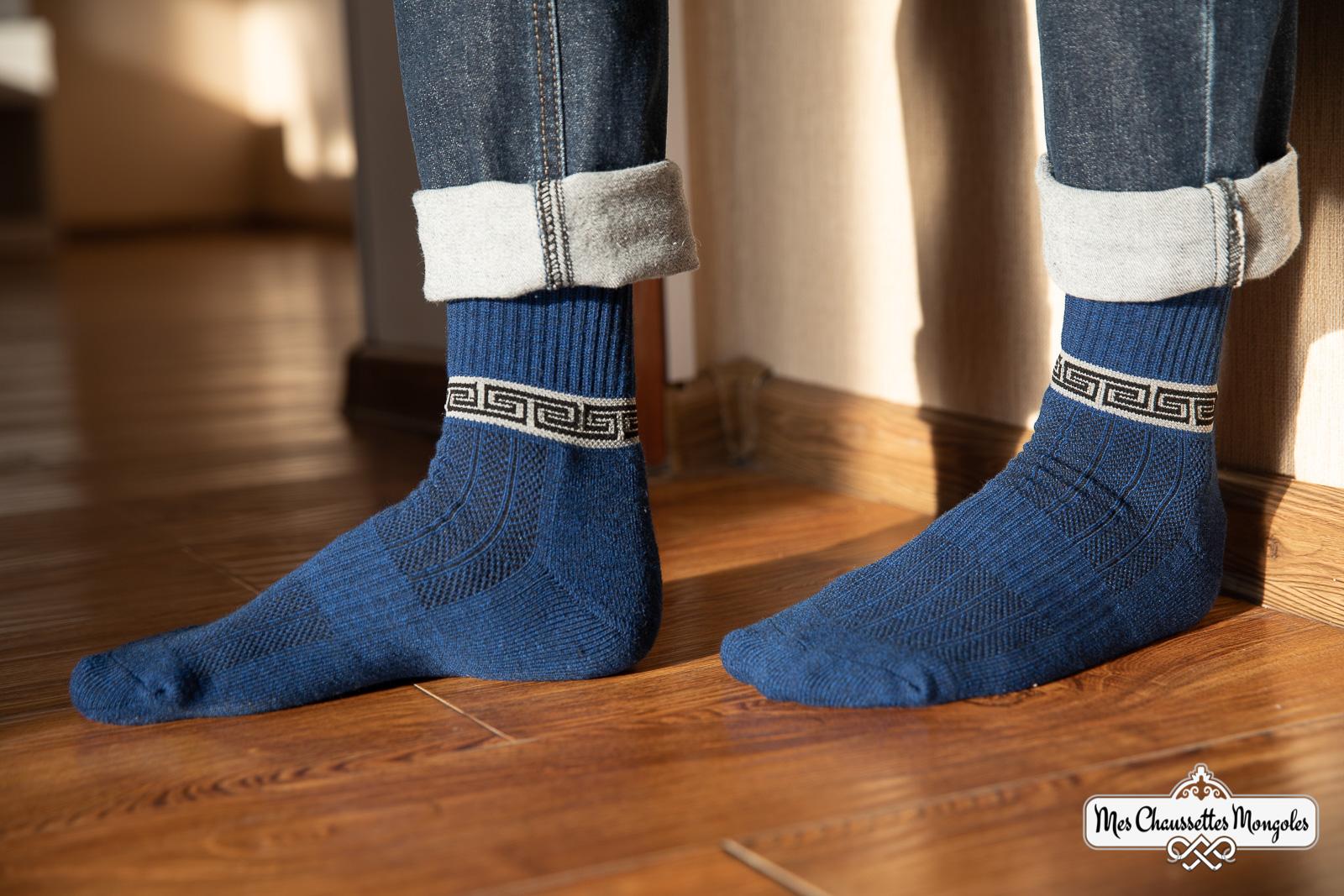 Chaussettes en coton bleu avec frise MCM