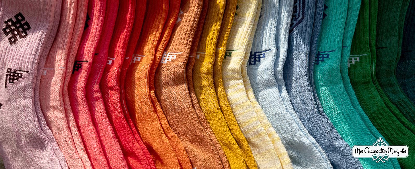 un arc en ciel de couleurs pour nos chaussettes en coton
